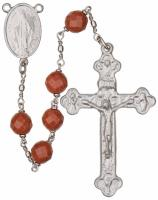 "24"" Chain-link Rosary with 8mm Gold Stone Beads, R1358"