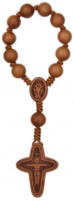 "5 1/2"" 1-Decade Rosary with 10mm Jujube Wood Beads, R3310"