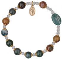 Rosary Bracelet with 8mm Multicolor Onyx Beads and Gold Capping- Petite Wrist Size, RBS58