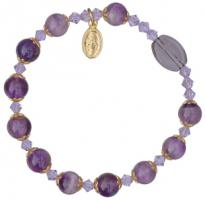 Rosary Bracelet with 8mm Amethyst Beads and Gold Capping - Petite Wrist Size, RBS64