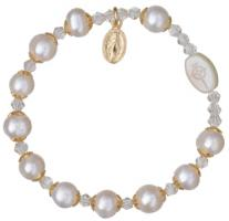 Rosary Bracelet with 8mm Pearl Beads and Gold Capping - Petite Wrist Size, RBS65