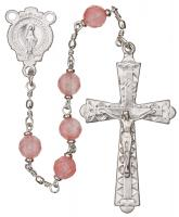 "20"" Chain-link Rosary with 6mm Rose Quartz Beads, R556"