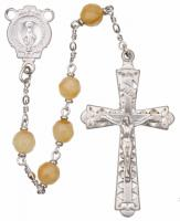 "20"" Chain-link Rosary with 6mm Gold Jade Beads, R656"