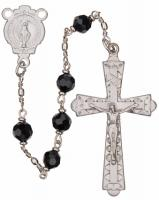 "20"" Chain-link Rosary with 6mm Black Onyx Beads, R956"