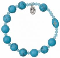 Rosary Bracelet with 10mm Turquoise Beads, RBS16