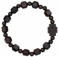 Rosary Bracelet with 10mm Hex Cut Wood Beads, RBS3E