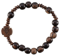 Rosary Bracelet with 8mm Striped Wood Beads, RBS2C
