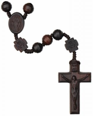 "20"" Rosary with 10mm Striped Cut Jujube Wood Beads, R3654"