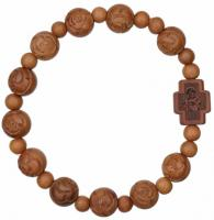Rosary Bracelet with 10mm Light Jujube Wood Beads, RBS3F