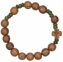 Rosary Bracelet with 10mm Wood Beads, RBS2A