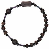 Jesus Rosary Bracelet with 8mm Jujube Wood Beads - Petite Wrist Size, RBS2E