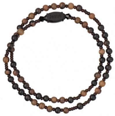 Five Decade Rosary Bracelet with 4mm Jujube Wood Beads, RBS4B