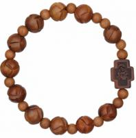 Marian Cross Rosary Bracelet with 10mm Light Jujube Wood Beads, RBS3H