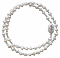 5 Decade Rosary Bracelet with 4mm Pearl Beads, RBS67