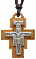 "15"" Necklace with 1.25"" Wood San Damiano Crucifix, SN06"