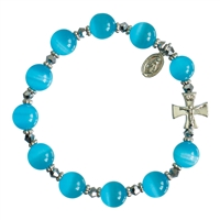 Rosary Bracelet with 10mm Blue Cats Eye Beads, RBS25