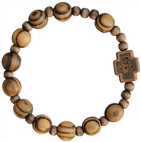 Wood 10mm Bead Rosary Bracelet RBS2G