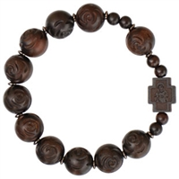 Jujube Wood 13mm Rose-Cut Beads Rosary Bracelet RBS3I