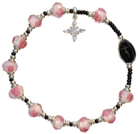 Rose 8mm Murano Glass Bead Rosary Bracelet RBA10