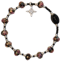 Murano Plum 8mm Glass Bead Rosary Bracelet RBA11