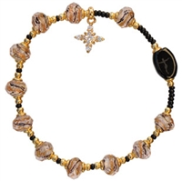 Murano Gold 8mm Glass Bead Rosary Bracelet RBA12