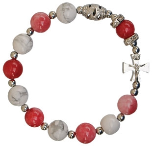 Rosary Bracelet Gemstone Pink/White 10mm RBA51