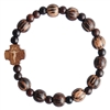 Striped Wood Children's Rosary Bracelet