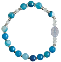 Rosary Bracelet Children Gemstone Blue 6mm RCB42