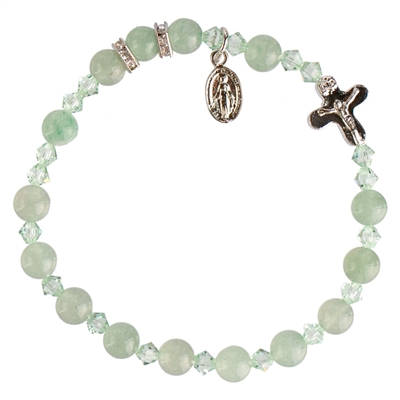 6mm Genuine Green Jade Rosary Bracelet RBS32