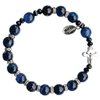 8mm Genuine Blue Agate Rosary Bracelet RBS41