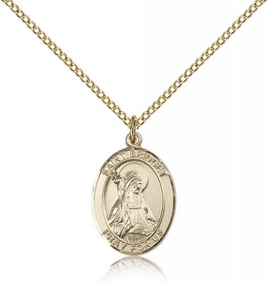 "Gold Filled St. Bridget of Sweden Pendant, Gold Filled Lite Curb Chain, Medium Size Catholic Medal, 3/4"" x 1/2"""