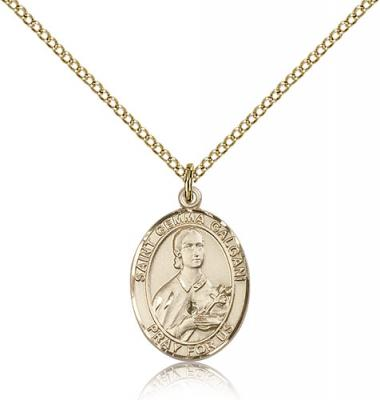 "Gold Filled St. Gemma Galgani Pendant, Gold Filled Lite Curb Chain, Medium Size Catholic Medal, 3/4"" x 1/2"""