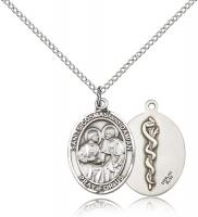 "Sterling Silver Sts. Cosmas & Damian/Doctors Penda, Sterling Silver Lite Curb Chain, Medium Size Catholic Medal, 3/4"" x 1/2"""