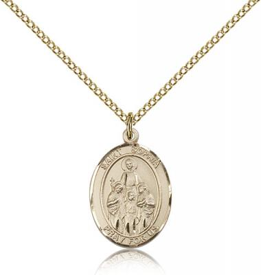 "Gold Filled St. Sophia Pendant, Gold Filled Lite Curb Chain, Medium Size Catholic Medal, 3/4"" x 1/2"""
