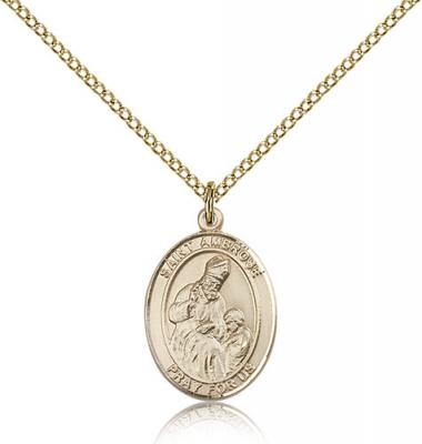 "Gold Filled St. Ambrose Pendant, Gold Filled Lite Curb Chain, Medium Size Catholic Medal, 3/4"" x 1/2"""