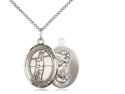 "Sterling Silver St. Christopher/Volleyball Pendant, Sterling Silver Lite Curb Chain, Medium Size Catholic Medal, 3/4"" x 1/2"""