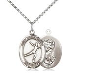 "Sterling Silver St. Christopher/Figure Skating Pen, Sterling Silver Lite Curb Chain, Medium Size Catholic Medal, 3/4"" x 1/2"""