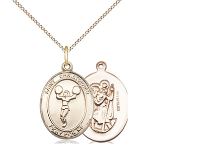 "Gold Filled St. Christopher/Cheerleading Pendant, GF Lite Curb Chain, Medium Size Catholic Medal, 3/4"" x 1/2"""