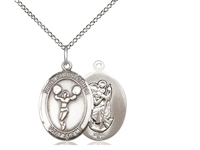 "Sterling Silver St. Christopher/Cheerleading Penda, Sterling Silver Lite Curb Chain, Medium Size Catholic Medal, 3/4"" x 1/2"""
