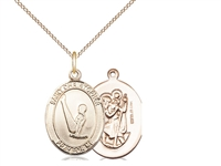 "Gold Filled St. Christopher/Gymnastics Pendant, GF Lite Curb Chain, Medium Size Catholic Medal, 3/4"" x 1/2"""
