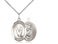 "Sterling Silver St. Christopher/Gymnastics Pendant, Sterling Silver Lite Curb Chain, Medium Size Catholic Medal, 3/4"" x 1/2"""