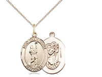 "Gold Filled St. Christopher/Lacrosse Pendant, GF Lite Curb Chain, Medium Size Catholic Medal, 3/4"" x 1/2"""