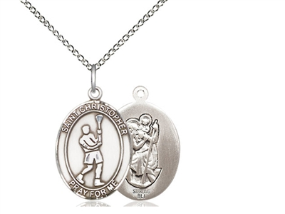 "Sterling Silver St. Christopher/Lacrosse Pendant, Sterling Silver Lite Curb Chain, Medium Size Catholic Medal, 3/4"" x 1/2"""