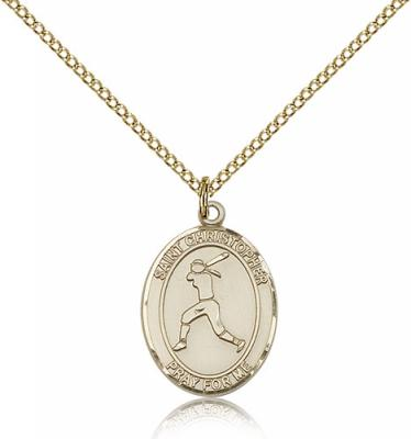 "Gold Filled St. Christopher/Softball Pendant, GF Lite Curb Chain, Medium Size Catholic Medal, 3/4"" x 1/2"""