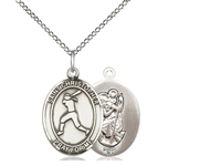 "Sterling Silver St. Christopher/Softball Pendant, Sterling Silver Lite Curb Chain, Medium Size Catholic Medal, 3/4"" x 1/2"""