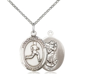 "Sterling Silver St. Christopher/Track & Field Pend, Sterling Silver Lite Curb Chain, Medium Size Catholic Medal, 3/4"" x 1/2"""