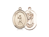 "Gold Filled St. Christopher/Baseball Pendant, GF Lite Curb Chain, Medium Size Catholic Medal, 3/4"" x 1/2"""