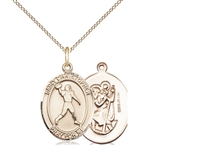 "Gold Filled St. Christopher/Football Pendant, Gold Filled Lite Curb Chain, Medium Size Catholic Medal, 3/4"" x 1/2"""