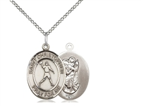 "Sterling Silver St. Christopher/Football Pendant, Sterling Silver Lite Curb Chain, Medium Size Catholic Medal, 3/4"" x 1/2"""