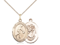 "Gold Filled St. Christopher/Basketball Pendant, GF Lite Curb Chain, Medium Size Catholic Medal, 3/4"" x 1/2"""